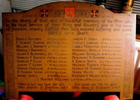 Newhampton Road (Cranmer) Wesleyan Church Memorial and Roll of Honour. Memorial plaque