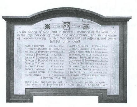 Newhampton Road (Cranmer) Wesleyan Church Memorial and Roll of Honour.