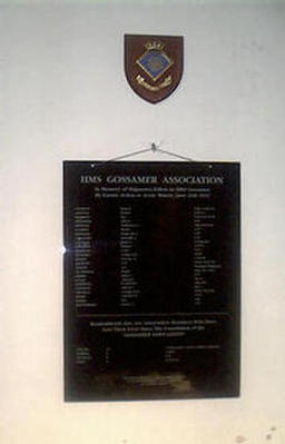Minesweeper HMS Gossamer roll of honour