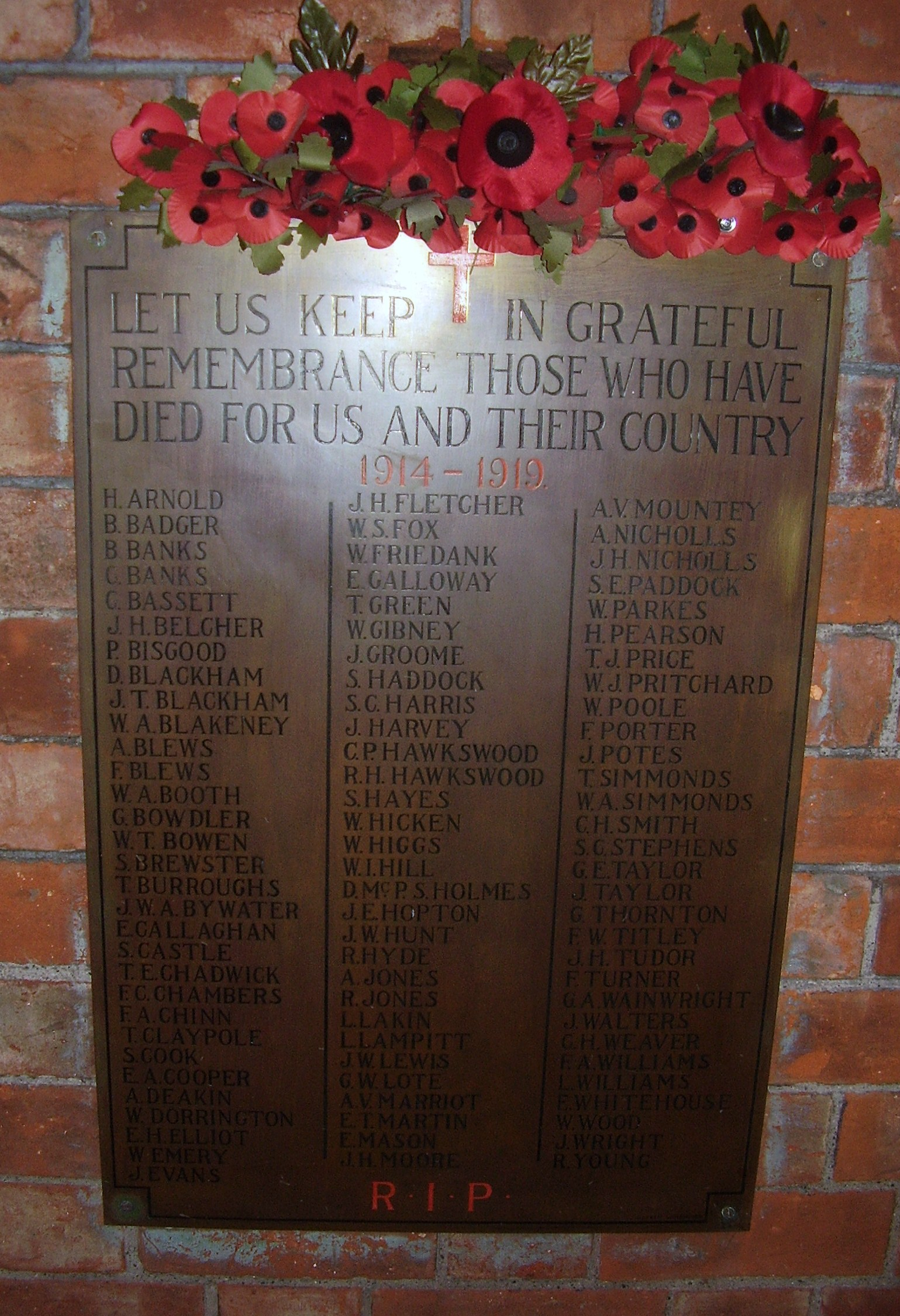 All Saints Church Roll of Honour